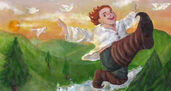Le petit Poucet étant donc chargé de toutes les richesses de l'Ogre s'en revint au logis de son père, où il fut reçu avec bien de la joie.